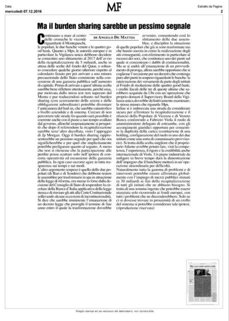 Ma il burden sharing sarebbe un pessimo segnale (Milano Finanza) | Monte dei Paschi ... di Siena ? | Scoop.it