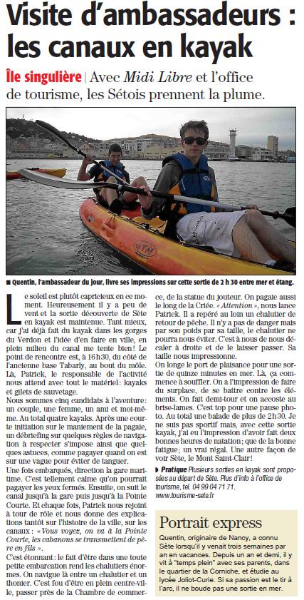 Les canaux en kayak | Sète Tourisme : les ambassadeurs-reporters sur le terrain | Scoop.it