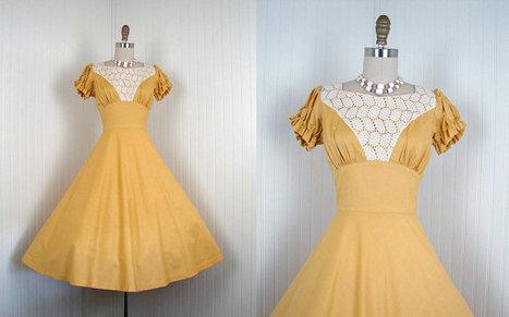 Vintage 50s Mustard Yellow Party Dress M - | Vintage! | Scoop.it