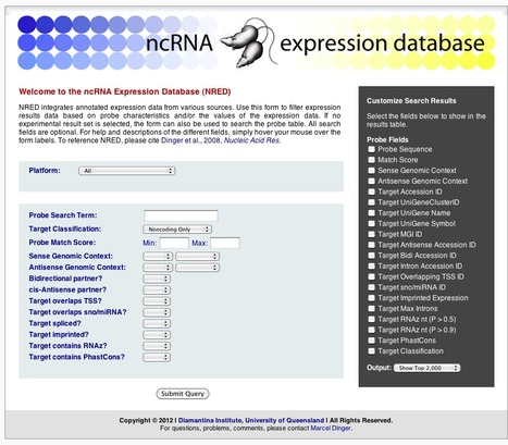 NRED - an ncRNA Expression Database | bioinformatics-databases | Scoop.it