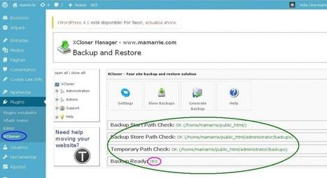 Cómo hacer una Copia de Seguridad en Wordpress con Xcloner - mamá ríe | Formación Lanzanet | Scoop.it