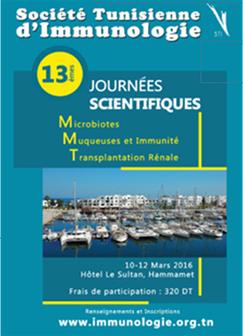 13èmes Journées Scientifiques de la Société Tunisienne d'immunologie (10-12 mars) | Institut Pasteur de Tunis-معهد باستور تونس | Scoop.it