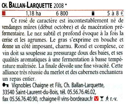 Guide Hachette 2010 Château Ballan-Larquette Bordeaux rosé 2008 | Nombrilisme | Scoop.it