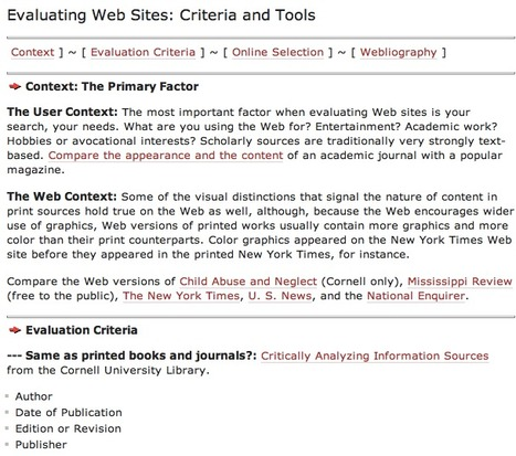 Evaluating Web Sites: Criteria and Tools - Cornell University Library   recycling   Scoop.it