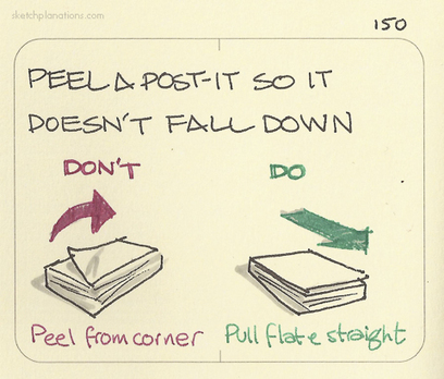 Peel a Post-it so it doesn't fall down. Pull flat... | Sketchplanations - Explaining one thing a day in a sketch | Visual Buzz | Scoop.it