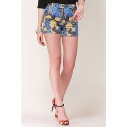 Blue Love Abstract Print Shorts   Online shopping for women   Scoop.it