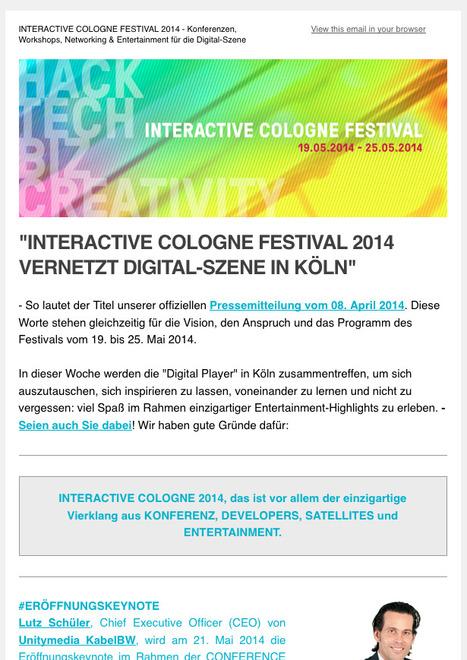 Newsletter 04-2014: INTERACTIVE COLOGNE vernetzt Digital-Szene in Köln vom 19.-25. Mai 2014 - Konferenzen, Workshops, Networking und weitere Highlights   Web de Cologne   Scoop.it