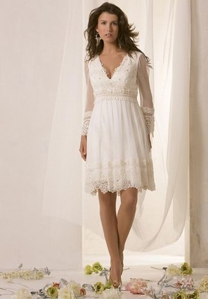 Long Sleeves Lace V-Neck Satin Knee-Length Bridal Dresses - Wedding Dresses | Wedding Dresses | Scoop.it