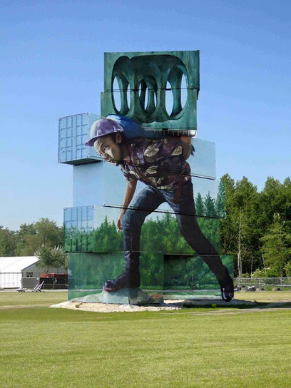 """""""Moving the Pointless Monument"""", an incredible piece by Fintan Magee in Werchter, Belgium 