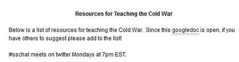 Cold War Unit Resources from #SSCHAT   History and Social Studies Education   Scoop.it