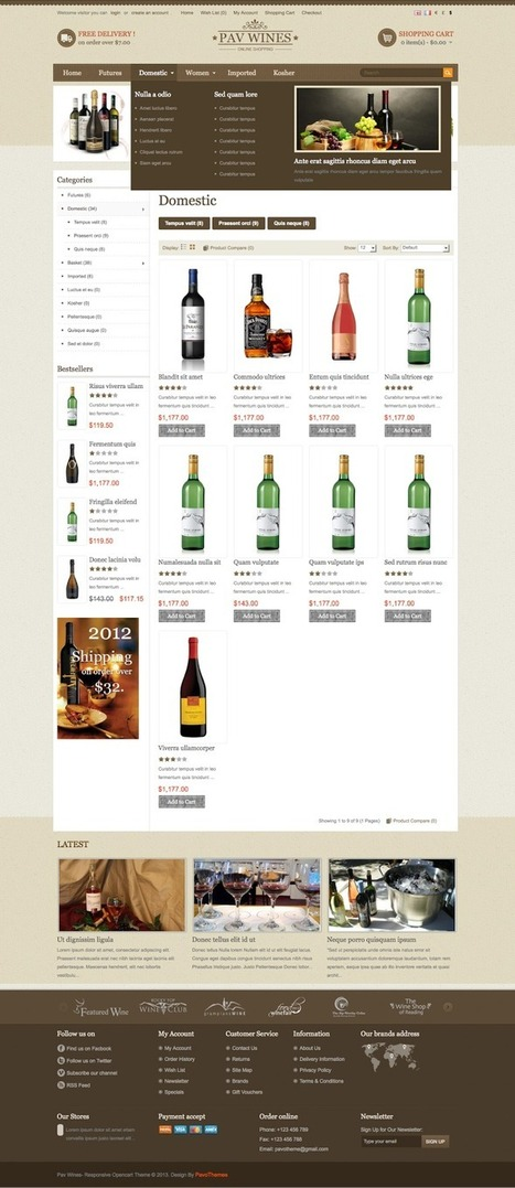 Pav Wines Responsive eCommerce Template for OpenCart : Premium Templates Resources | Premium Web Resources | Scoop.it
