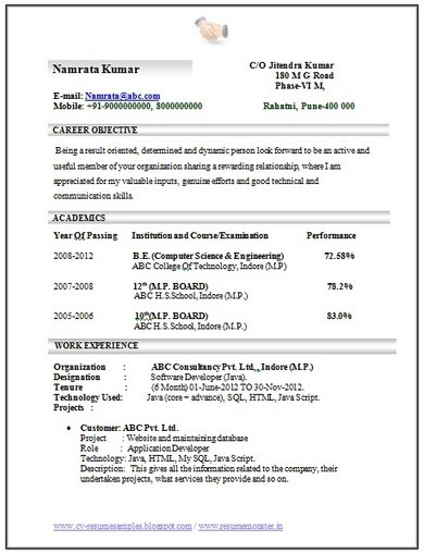 One Page Resume Format In Doc Than CV Formats For Free Download