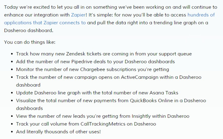 New Dasheroo Release: Zapier Gives You Hundreds of Apps for Your Dashboards | The Marketing Technology Alert | Scoop.it