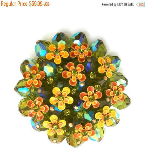 Brooch Sale Alice Caviness Crystal Brooch, Green Aurora Borealis Crystals, Yellow and Orange Enamel Flowers, Tiny Green Centers, | Vintage Jewelry and Other Vintage Treasures | Scoop.it