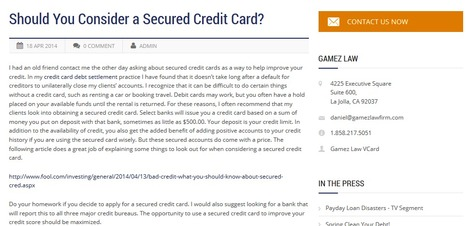 Should You Consider a Secured Credit Card? | Gamez Law Firm | Business | Scoop.it