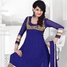 Navy Blue Faux Georgette Salwar Kameez | Strollay.com | Scoop.it