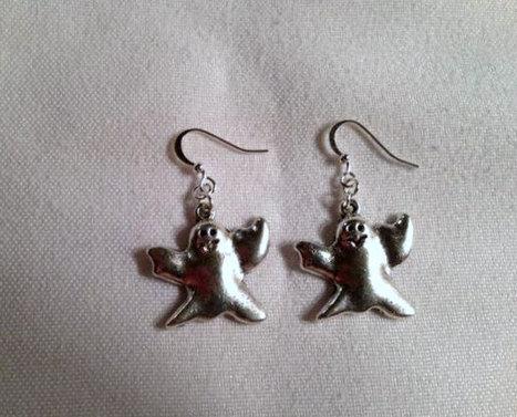 Ghost Earrings Silver Jewelry Halloween Jewellery Seasonal Holiday Unique Fun Mod ER-TBM | Jewlery | Scoop.it
