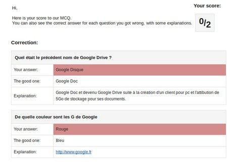 Créer avec google Form un QCM avec correction automatique et envoie du résultat | Outils pour l'eLearning - Tools for e-Learning | Scoop.it