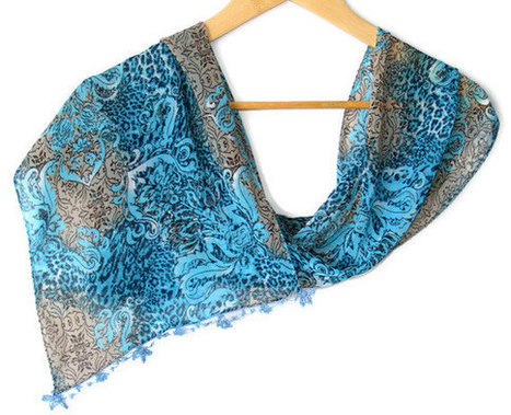 scarf , women scarves with lace new design shawl / neckwarmer /cowl /chiffon scarf, for woman, fashion accessory, scarves | HANDMADE | Scoop.it