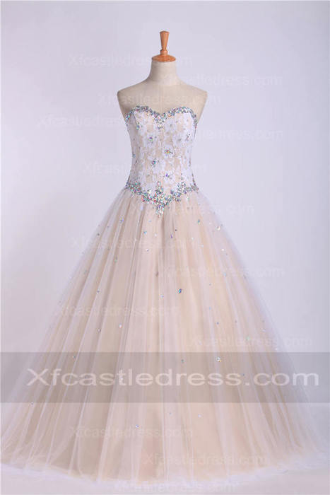 Beaded A Line Champagne Lace Ball Gown Prom Dresses QUXF10 | women fashion dresses | Scoop.it