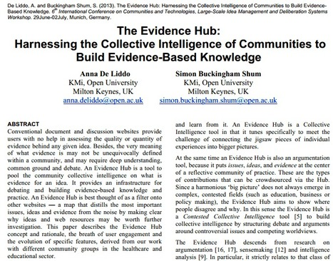 The Evidence Hub: Harnessing the Collective Intelligence of Communities to Build Evidence-Based Knowledge | Conciencia Colectiva | Scoop.it