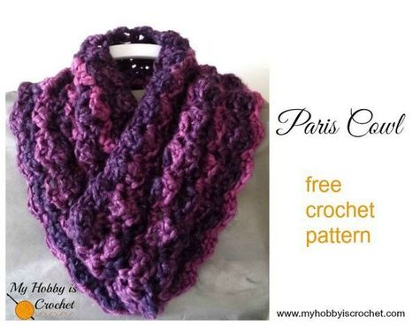 My Hobby Is Crochet: Free Crochet Pattern: Paris Cowl | My Hobby is Crochet | Free crochet patterns and tutorials | Scoop.it