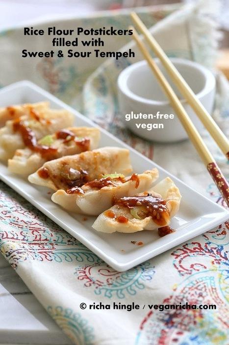 Gluten-free Potstickers filled with Sweet & Sour Tempeh and Celery. Vegan Gum-free Recipe | Vegan Richa | My Vegan recipes | Scoop.it