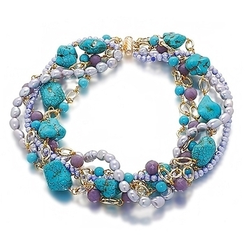 Orchira blue, silver pearl and gemstone multi strand necklace | Pearls & Fashion | Scoop.it
