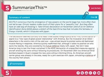Free Technology for Teachers: SummarizeThis Quickly Summarizes Long Passages of Text | Teacher Tips & Tools | Scoop.it