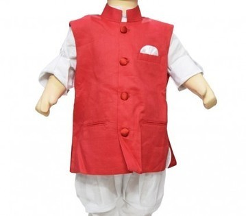 Indian Designer Ethnic White Kurta Pajama with Red Jacket for Kids | Online Baby Accessories | Scoop.it