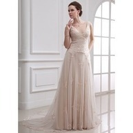 [US$ 223.99] A-Line/Princess V-neck Court Train Satin Tulle Wedding Dress With Lace Beading (002000313)   fantastic dresses   Scoop.it