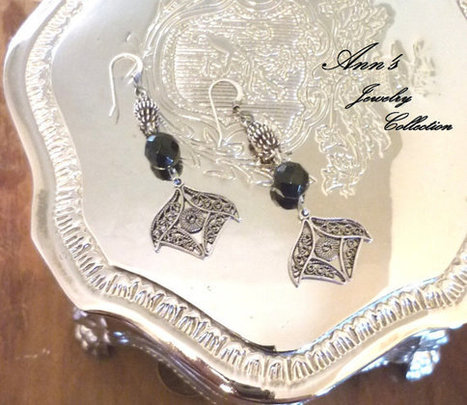 Fancy Sterling Silver Filigree Dangle Earrings with a Faceted Black Onyx Stone | Ann's Jewelry Collection | Scoop.it