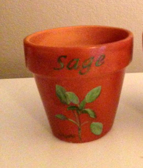 Herb Pot 4 Inch Red Clay Terracotta Hand Painted Sage Made to Order | Antiques n' Oldies | Scoop.it