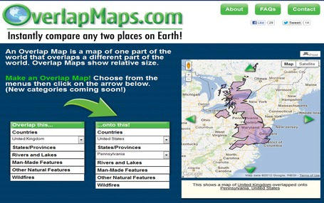 OverlapMaps - Instantly compare any two places on Earth! | Coordenadas | Scoop.it
