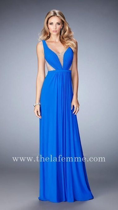 La Femme 22238 Electric Blue Rhinestones Open Back Two Shoulder V Neck Form Dress For Prom [La Femme 22238 Electric Blue] - $189.00 : The La Femme | La Femme Dresses | Cheap La Femme | girlsdresseshop | Scoop.it