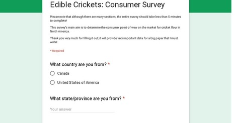 Edible Crickets: Consumer Survey | Entomophagy: Edible Insects and the Future of Food | Scoop.it