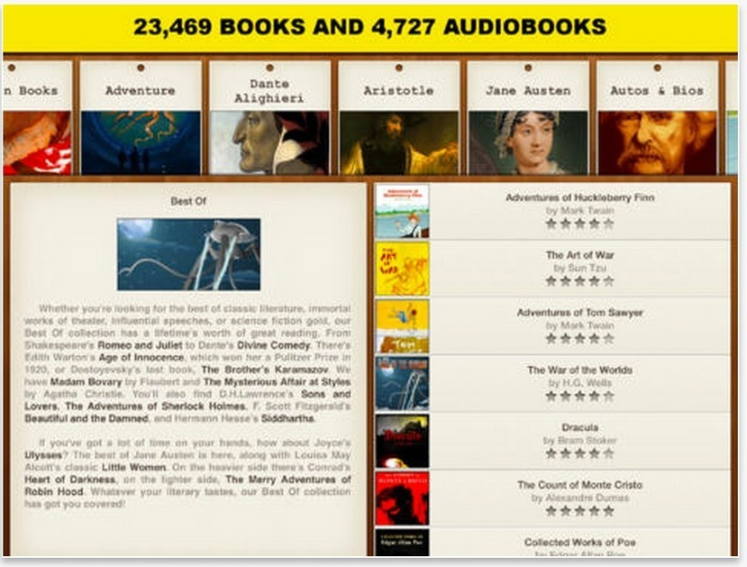 A Library of Great Free eBooks and Audiobooks for Your iPad