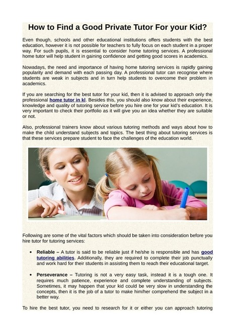 How to Find a Good Private Tutor For your Kid? | Education | Scoop.it