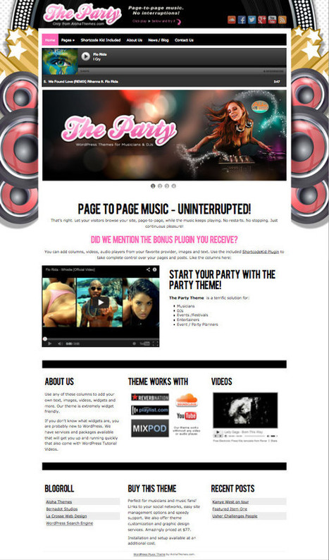 Party WordPress Page to Page Music Theme | renanleal | Scoop.it