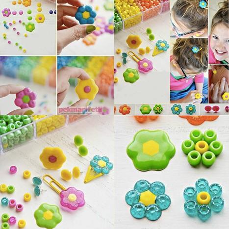 Plastik boncuktan çiçek şeklinde toka yapımı | Takı Tasarım | Pek Marifetli! | KADIN SİTESİ | Scoop.it
