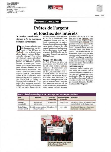 Article Le Revenu | Unilend | Scoop.it