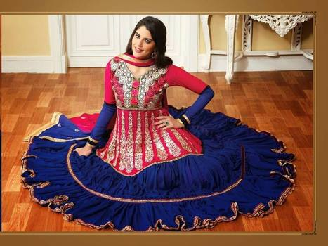 Designed anarkali in rich pink n dark blue. - Services Junction | Fashion and Moda | Scoop.it
