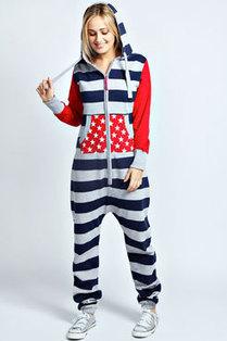 Jovie Stars And Stripes Contrast Sleeve Onesie | fashion | Scoop.it