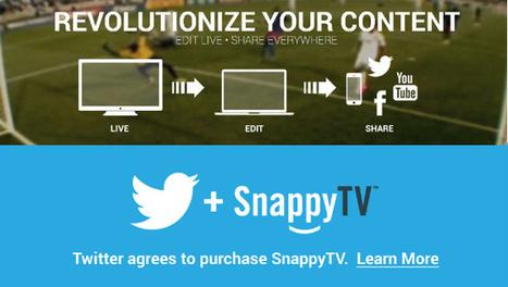 Twitter fait l'acquisition de SnappyTV (édition et diffusion d'extraits vidéo)   social tv   Scoop.it