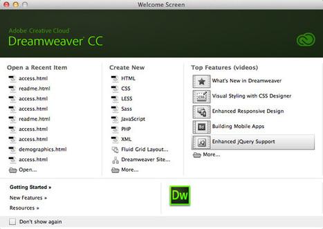 dreamweaver welcome screen | The Dreamweaver CC Welcome Screen | Scoop.it