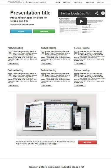 Features sample page Features page - Prezenter... | Bootstraptor FREE KIT update | Scoop.it