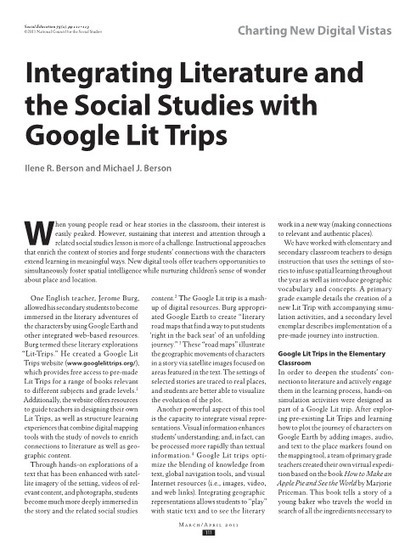 Integrating Literature and the Social Studies with Google Lit Trips - Social Education - Volume 75, Number 2 / March/April 2011 - National Council for the Social Studies | Educational excellence | Scoop.it
