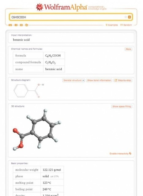 Estudiando química con Wolfram Alpha | Aprendiendo a Distancia | Scoop.it