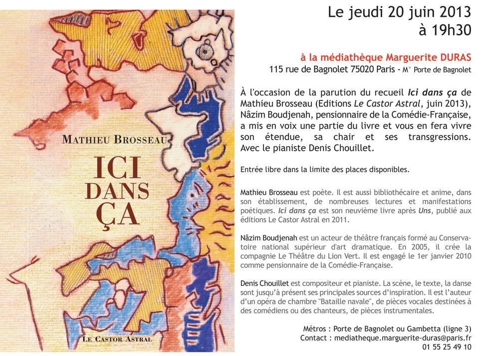 [lecture] Mathieu Brosseau, Paris, le 20 juin 2013 | Poezibao | Scoop.it