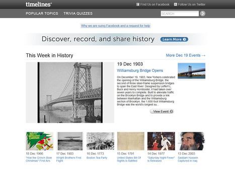 Timelines : la communauté au service de l'Histoire | Actualités - Nouveaux sites web & outils ! | Scoop.it